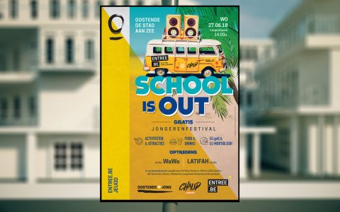 Stad Oostende - Campagne Festival - Affiche School is out